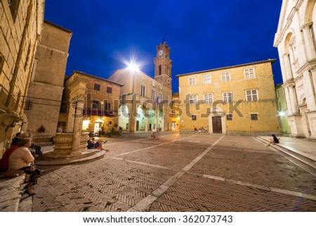 PIENZA, ITALY - JULY 4, 2014: Old town of Pienza, Tuscany, Italy. Historic Cathedral in the city center on Plaza de Pio II. - stock photo