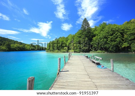 pier at plitvicka jezera national park, Croatia - stock photo