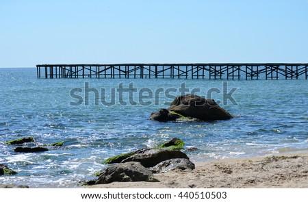 Pier at St Constantine and Elena, Varna, Bulgaria - stock photo