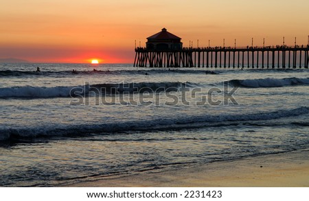 Pier at Sunset. - stock photo
