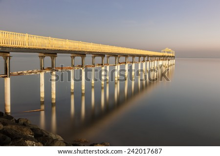 Pier at the Arabian Gulf in Kuwait City - stock photo