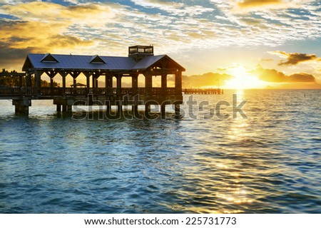 Pier at the beach in Key West, Florida USA  - stock photo