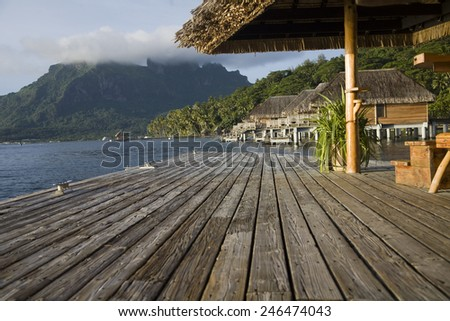 pier from a resort - stock photo