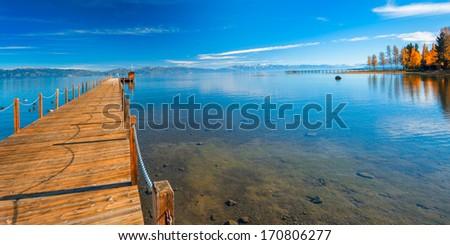 Pier in a lake, Tahoe City, Lake Tahoe, California, USA - stock photo
