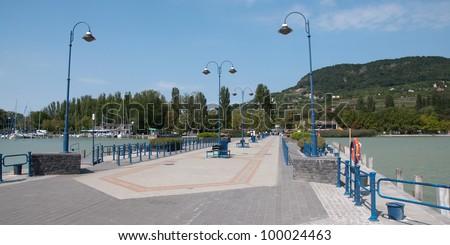 Pier in Badacsony, lake Balaton, Hungary - stock photo