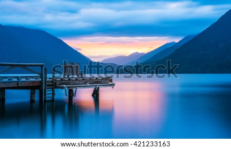 pier in lake Crescent when sunset, in Olympic national park,Washington State.Usa - stock photo