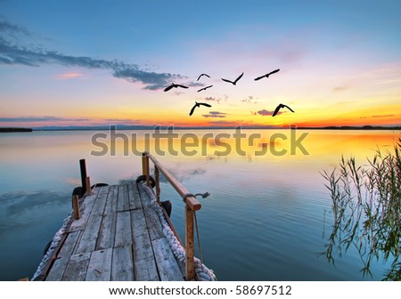 Pier into the clouds - stock photo
