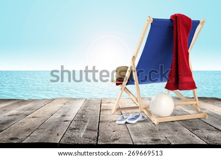 pier of wood and chair  - stock photo