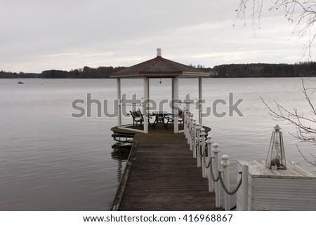 Pier shelter - stock photo