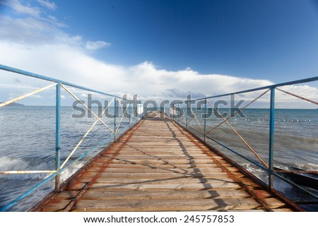 pier with a sea view - stock photo