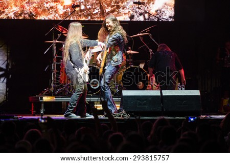 PIESTANY, SLOVAKIA - JUNE 26: guitarists of Finnish power metal band Stratovarius perform on music festival Topfest in Piestany, Slovakia on June 26, 2015 - stock photo