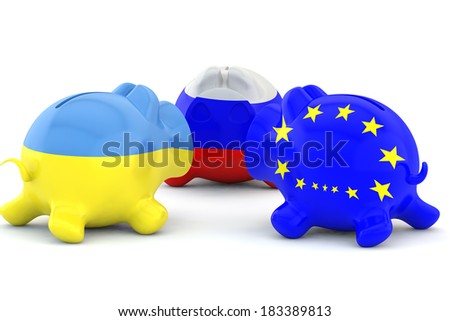 pig a moneybox with a flag of Ukraine, Russia and EU - stock photo