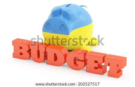 pig a moneybox with a red  inscription the Budget - stock photo