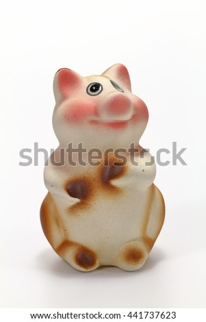 pig doll isolated on white background - stock photo