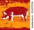 Pig Grunge Bitmap Background - stock photo