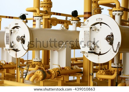 Pig launcher in oil and gas industry, Cleaning pipe line equipment in oil and gas industry, Clean up piping process on the platform in oil and gas industry, production process in oil and rig industry. - stock photo