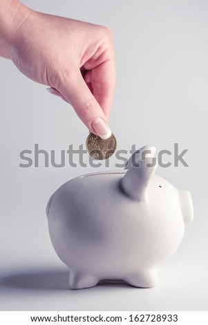 pig money box with golden coin - stock photo