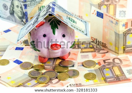pig piggy bank on a background of money - stock photo