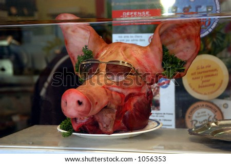 Pig's Head with Sunglasses - stock photo
