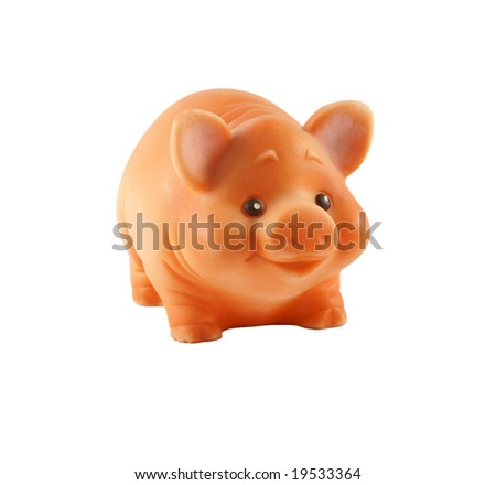Pig toy isolated over white - stock photo