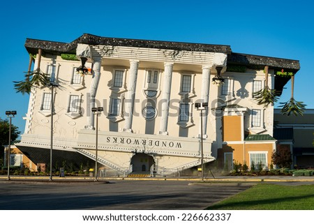 PIGEON FORGE, TENNESSEE - OCTOBER 21: Upside down building on October 21, 2014 in Pigeon Forge, Tennessee - stock photo