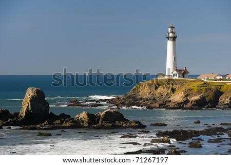 Pigeon Point Lighthouse in Pescadero, California - stock photo