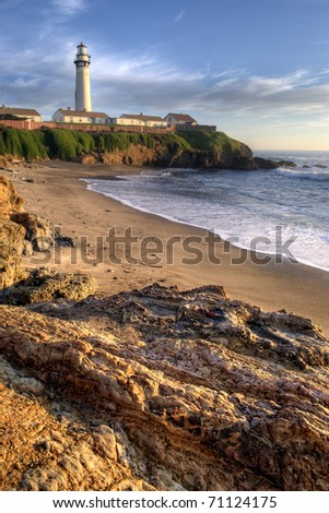 Pigeon Point Lighthouse in the Afternoon Light - stock photo