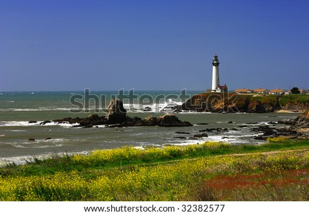 Pigeon Point Lighthouse Located Along The Central California Coast - stock photo