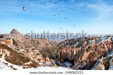 pigeon valley, Cappadocia Turkey - stock photo