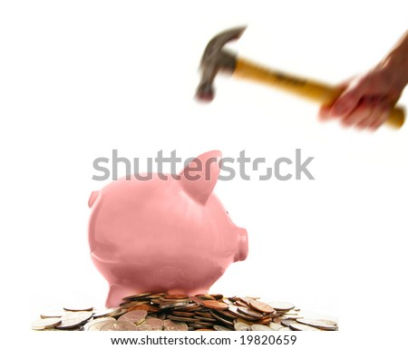 piggy bank and assorted coins about to get smashed, on white - stock photo