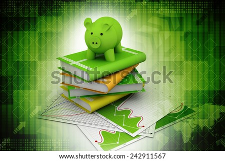 piggy bank and books - stock photo