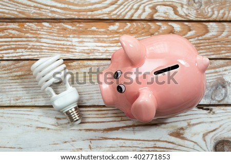 Piggy Bank and Energy Saving Bulb on Wooden Background - stock photo