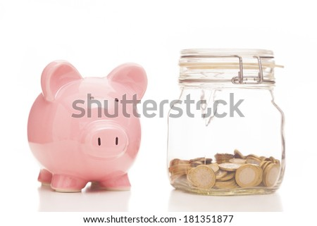 Piggy bank and money jar on white background - stock photo