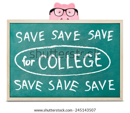 Piggy bank and save for college message - stock photo