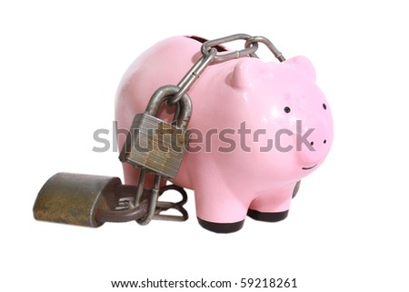 Piggy bank burdened with locks - stock photo