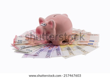 Piggy bank concept on white background with euro banknotes . - stock photo