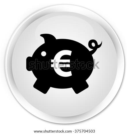 Piggy bank (euro sign) icon white glossy round button - stock photo