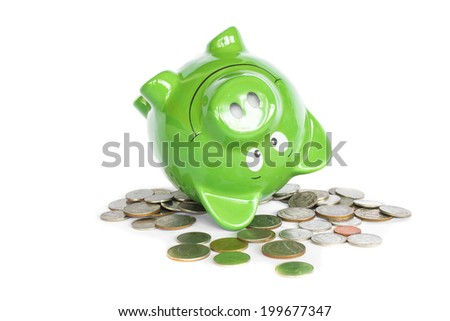 piggy bank full of coins bottom up isolated photo on white background - stock photo