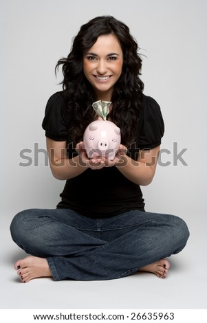 Piggy Bank Girl - stock photo