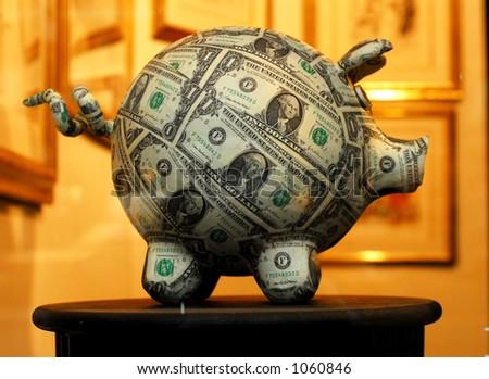 Piggy Bank (image contains noise) - stock photo