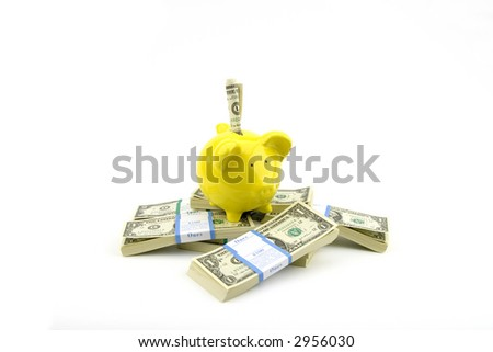 piggy bank in White Background - stock photo