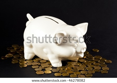 Piggy Bank isolated on black background with coins - stock photo