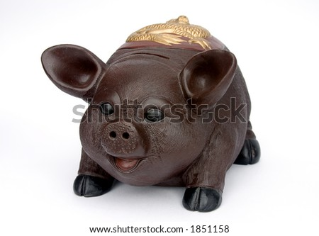 Piggy bank.Isolated on white. - stock photo