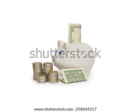 Piggy bank isolated on white - stock photo