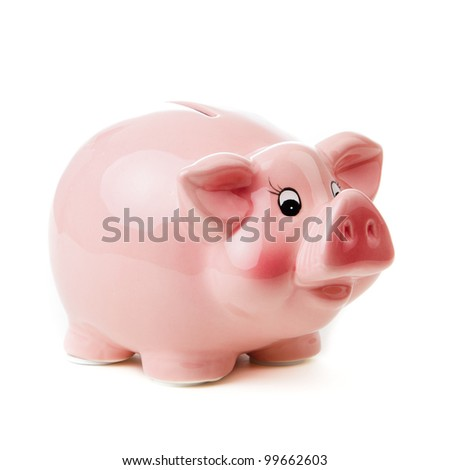 Piggy bank. isolated on white background - stock photo