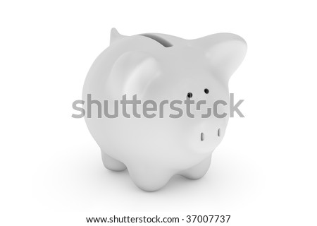 Piggy bank isolated over a white background. - stock photo