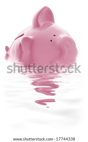 Piggy bank keeping its head above water.  Or is it drowning? - stock photo