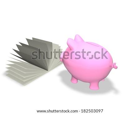 piggy bank learning finance - stock photo