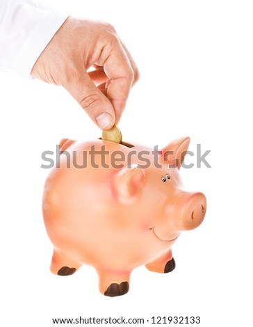 Piggy bank looking up for the coin isolated on white  background - stock photo