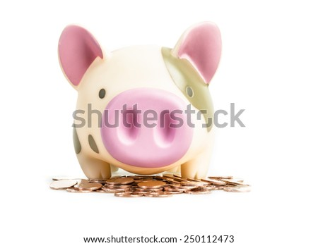 Piggy bank on copper coins , isolated on white background - stock photo